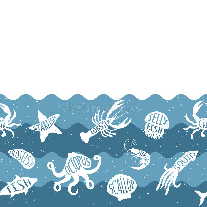 Horizontal repeating pattern with seafood products. Seafood seamless banner with underwater animals. Tile design for restaurant, fish food industry or market stock illustration