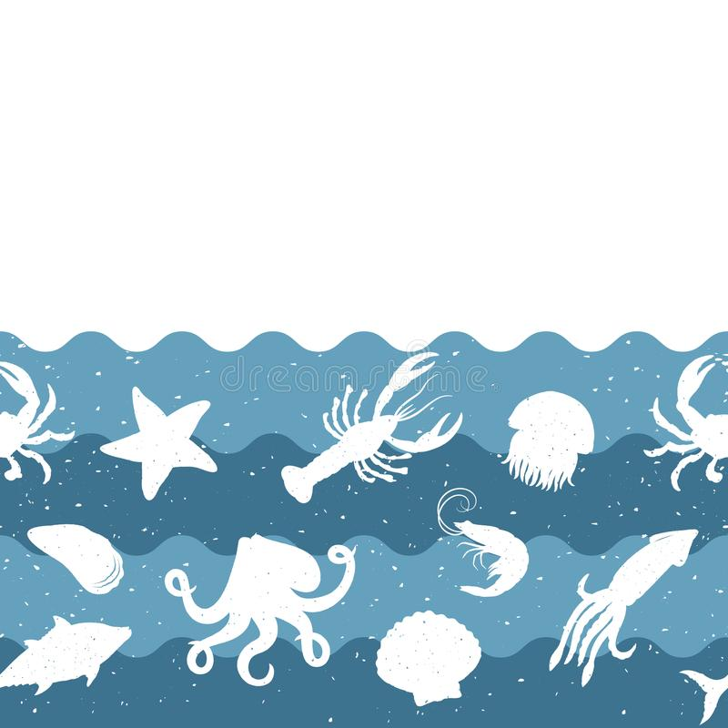 Horizontal repeating pattern with seafood products. Seafood seamless banner with underwater animals. Tile design for restaurant, fish food industry or market vector illustration