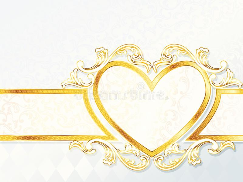 Horizontal rococo wedding banner with heart emblem. Elegant white and gold wedding banner. Graphics are grouped and in several layers for easy editing. The file royalty free illustration