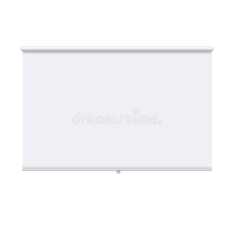 Horizontal roll up banner isolated on the white background. Design template of the projector screen. White roll up vector illustration