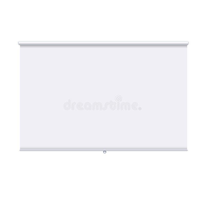 Horizontal rollen Sie oben die Fahne, die auf dem weißen Hintergrund lokalisiert wird Designschablone des Projektorschirmes Weiß  lizenzfreies stockbild