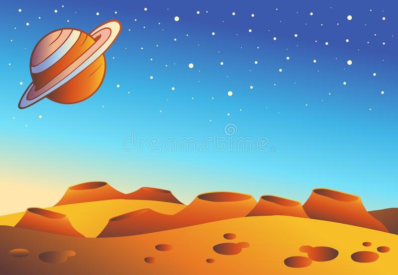 Horizontal rouge de planète de dessin animé illustration stock