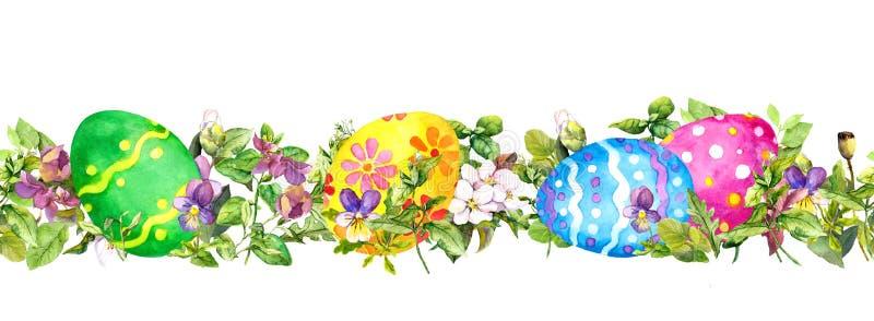 Horizontal row of Easter eggs hidden fresh green grass, spring flowers. Watercolor seamless banner, border. Horizontal row of Easter eggs hidden fresh green stock illustration