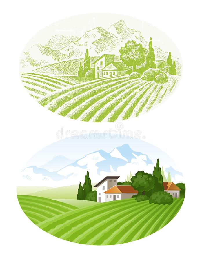 Horizontal rural illustration libre de droits