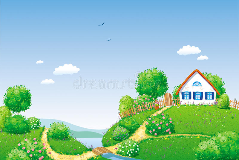 Horizontal rural illustration stock