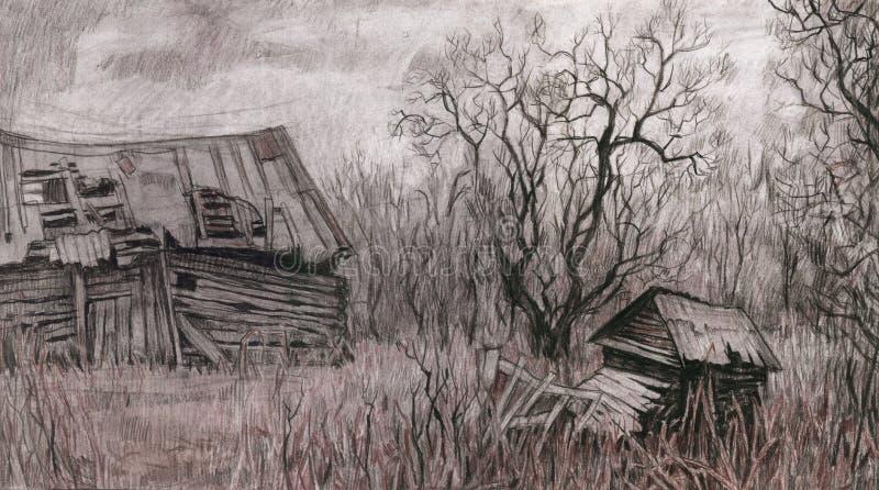 Horizontal rural avec la vieille maison. illustration de vecteur