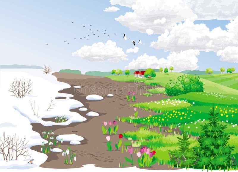 Horizontal rural de source illustration libre de droits