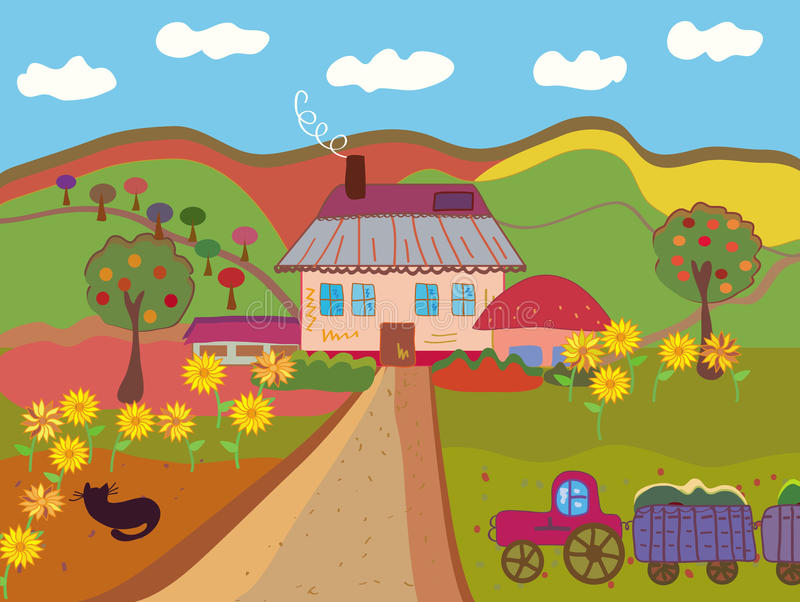 Horizontal rural mignon illustration de vecteur
