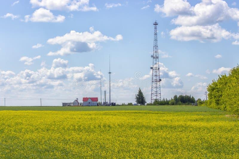 Horizontal rural Tour de télécommunication sur un champ jaune de viol, une petite maison de campagne avec un toit rouge photo stock
