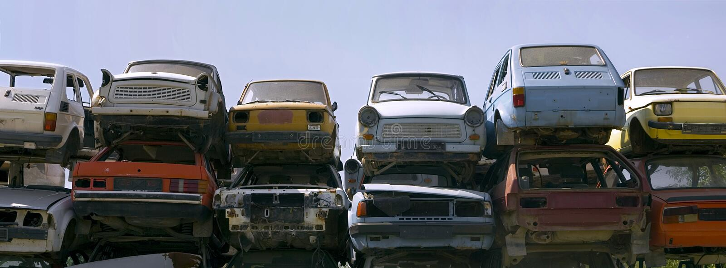 Horizontal rusty cars stock images