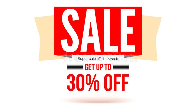 Horizontal sales banner with tape and text design, 3D illustration. Get up to thirty percent discount. Ad poster for vector illustration