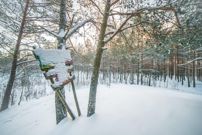 Horizontal scénique de l'hiver photographie stock libre de droits