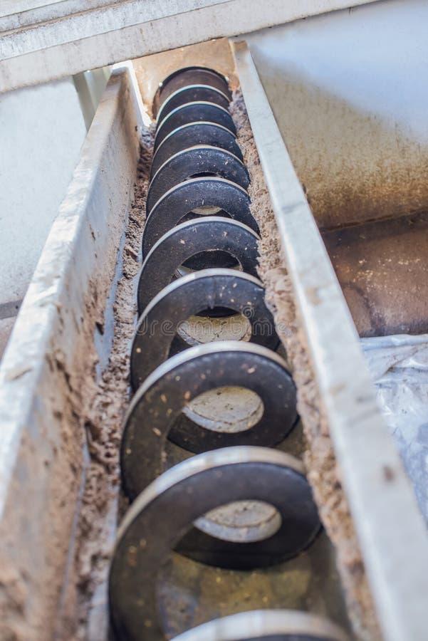 Horizontal conveyor. The industrial background stock photography