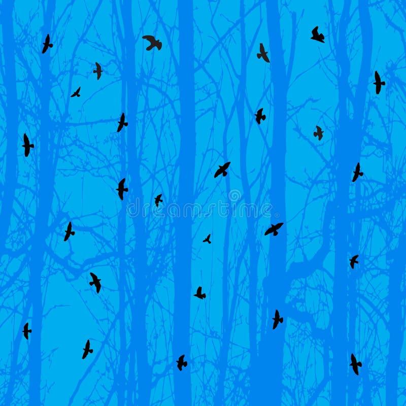 Horizontal seamless background, bird, blue tree royalty free stock photography
