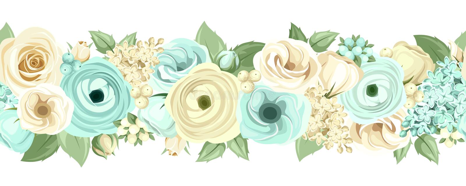 Horizontal seamless background with blue and white flowers. Vector illustration. stock illustration