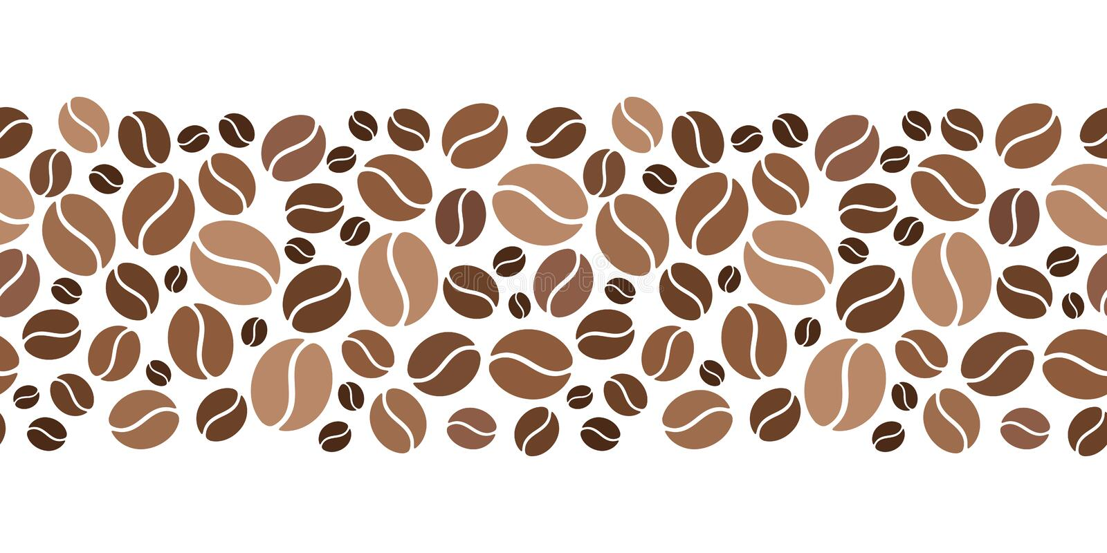 Horizontal seamless background with coffee beans. Vector illustration. royalty free illustration