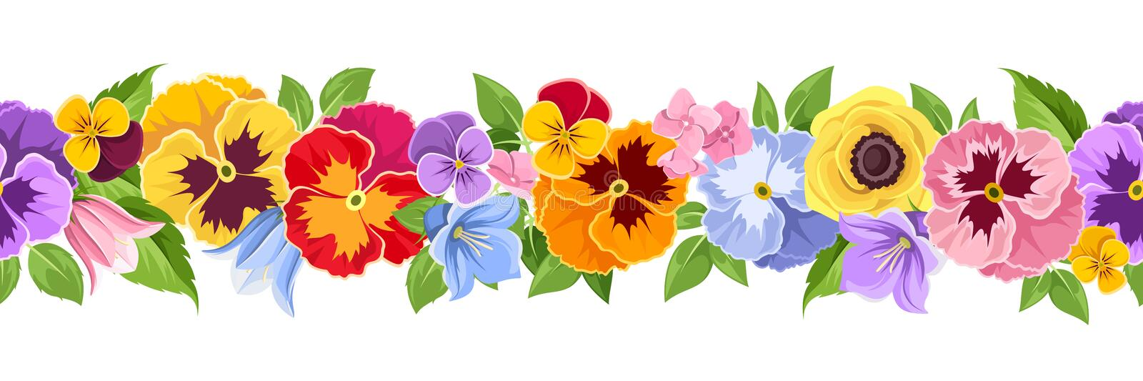 Horizontal seamless background with colorful flowers. Vector illustration. Vector horizontal seamless background with colorful pansy, bluebell and lilac flowers royalty free illustration
