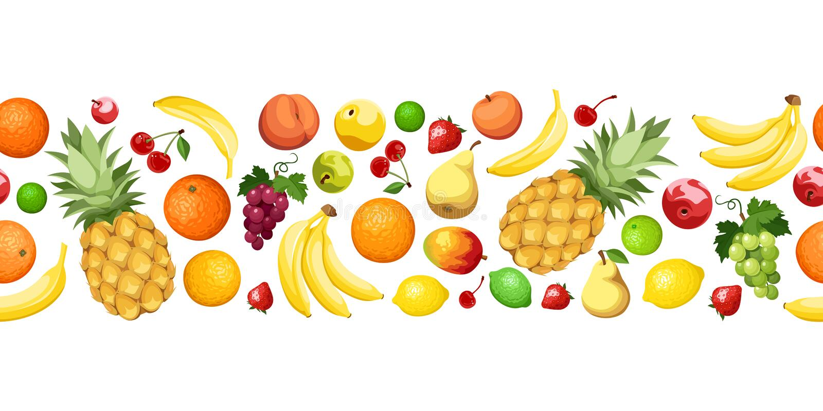 Horizontal seamless background with fruits. Vector. Vector horizontal seamless background with various colorful fruits on a white background stock illustration
