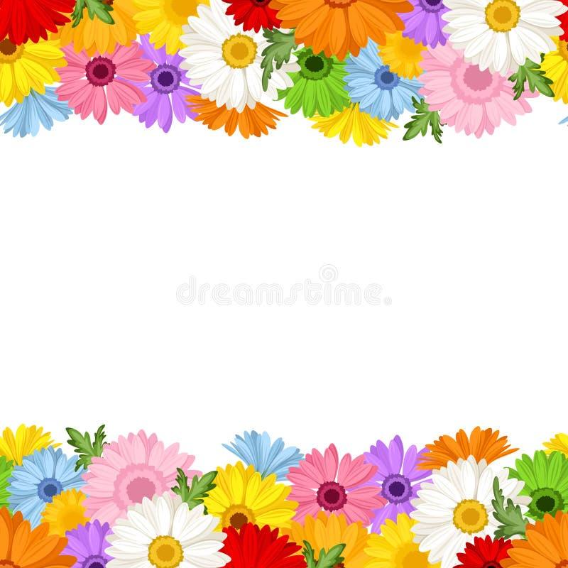 Horizontal Seamless Background With Gerbera Flower Stock