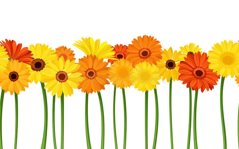 Horizontal seamless background with gerbera flowers. Vector illustration. royalty free illustration