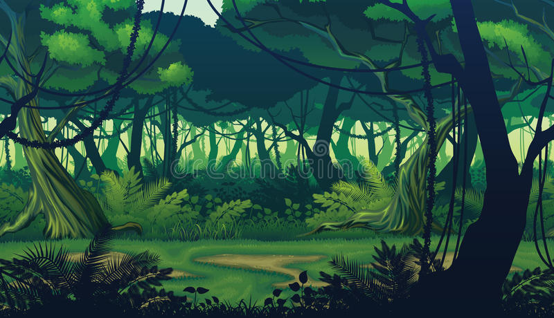 Horizontal seamless background of landscape with deep jungle forest. A high quality horizontal seamless background of landscape with deep jungle forest stock illustration