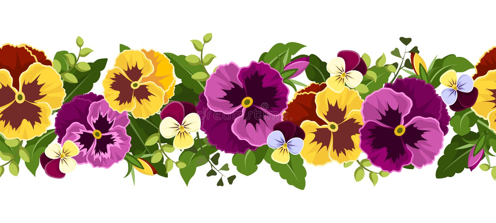 Horizontal seamless background with pansy flowers. stock illustration
