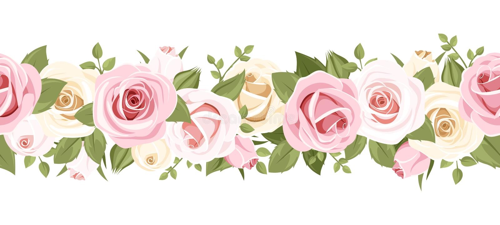 Horizontal seamless background with pink roses. Vector illustration. vector illustration
