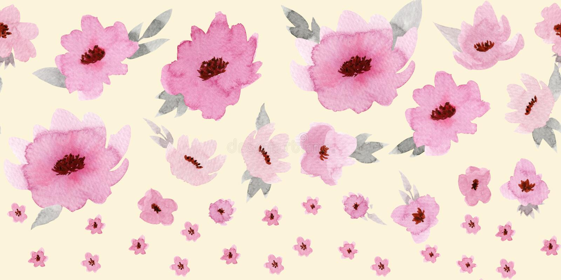 Horizontal seamless border with pastel rose flowers on beige background.  stock illustration