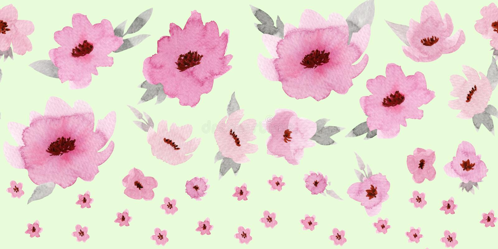 Horizontal seamless border with pastel rose flowers on ligth green background.  royalty free illustration