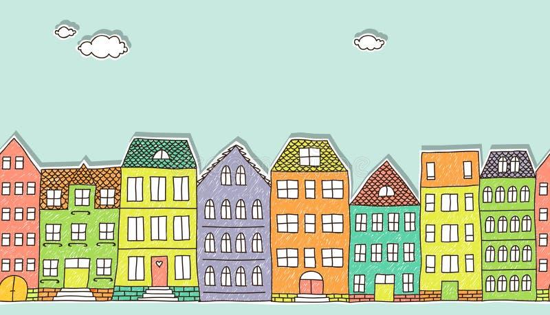 Horizontal seamless doodle houses pattern royalty free illustration