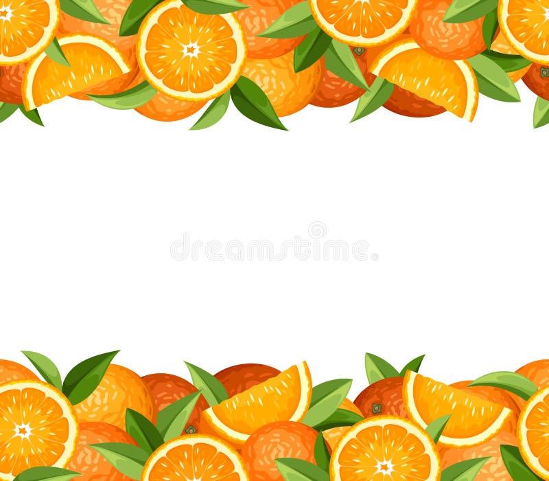 Horizontal seamless frame with oranges. Vector illustration. stock illustration