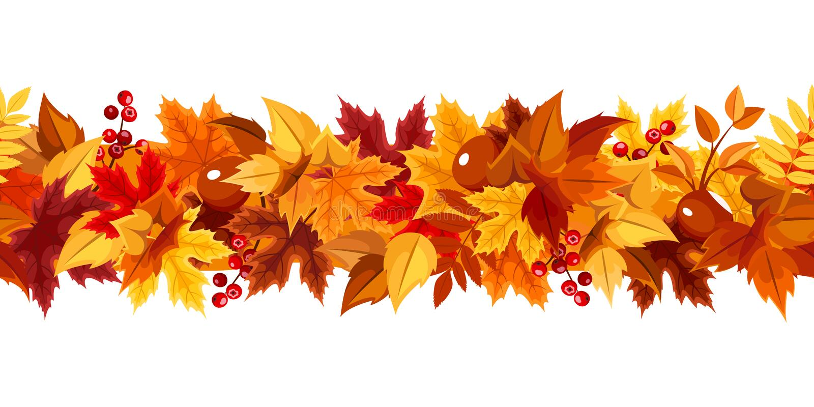 Horizontal seamless garland with colorful autumn leaves. Vector illustration. royalty free illustration