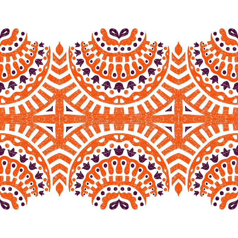 Horizontal seamless ornament drawn in pencil. Ethnic and tribal motifs. Vector illustration vector illustration
