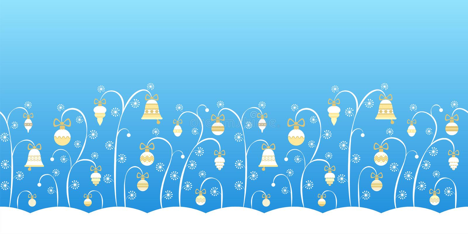 Horizontal seamless pattern of plants and Christmas toys. Background for text, banner. Horizontal light blue seamless pattern with the image of stylized plants royalty free illustration