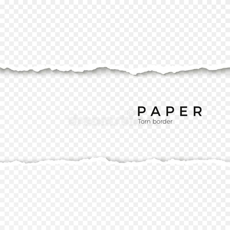 Horizontal seamless torn paper edge. Rough broken border of paper stripe. Vector illustration. Isolated on transparent background stock illustration