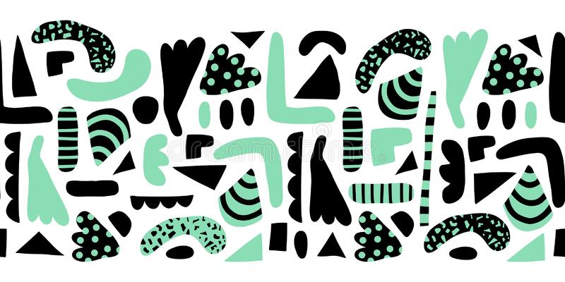 Horizontal seamless vector border modern abstract doodle shapes. Pattern simple elements green and black background stock illustration