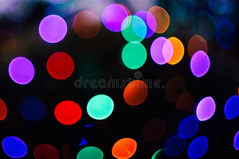 Horizontal shallow focus shot of bokeh lights at night royalty free stock photography