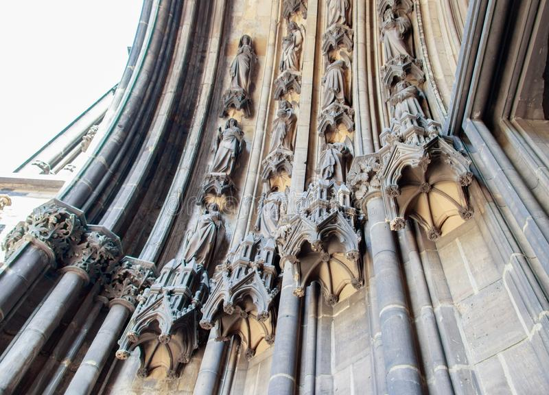 Horizontal shot of the Gothic revival church of st. Nicolas with beautiful sculptures in Hamburg. A horizontal shot of the Gothic revival church of st. Nicolas stock photography