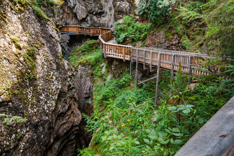 Horizontal shot of path in Gorner Gorge stock photos