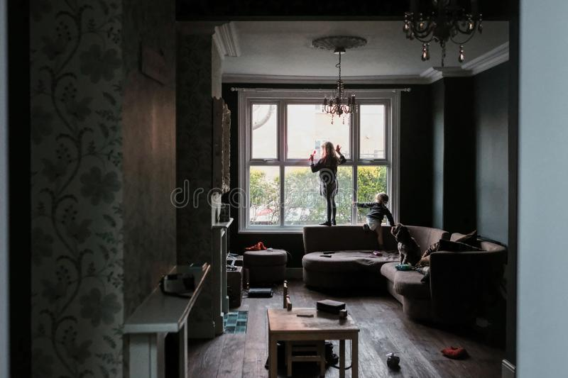 Horizontal shot of two kids and a dog standing near the window in a living-room making a mess stock photos