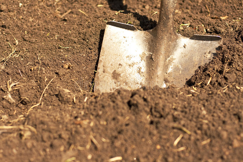 Download Horizontal Shovel In Dirt Front Shot Royalty Free Stock Image - Image: 13754146