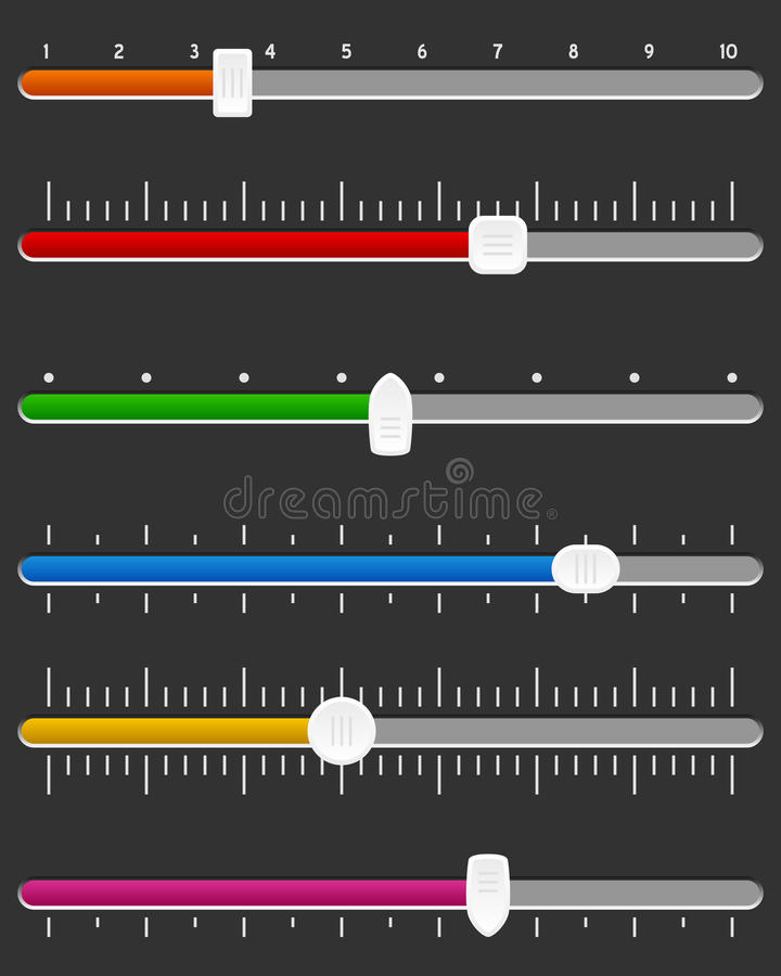 Horizontal Slider or Track Bar Set. Collection of six horizontal colorful slider or track bar, on dark background. Useful for application, website, presentation stock illustration