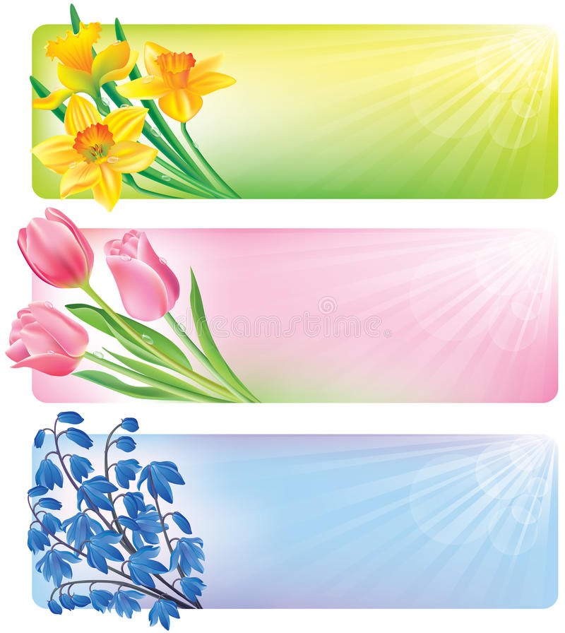 Download Horizontal Spring Banners Of Flowers Stock Vector - Illustration: 28520367
