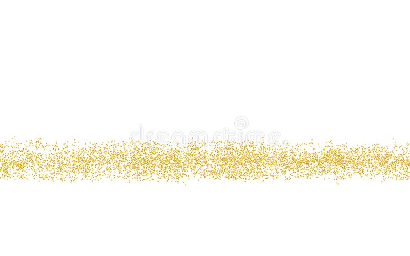 Horizontal strip sprinkled with crumbs golden texture. Background Gold dust on a white background. Sand particles grain or sand. stock illustration