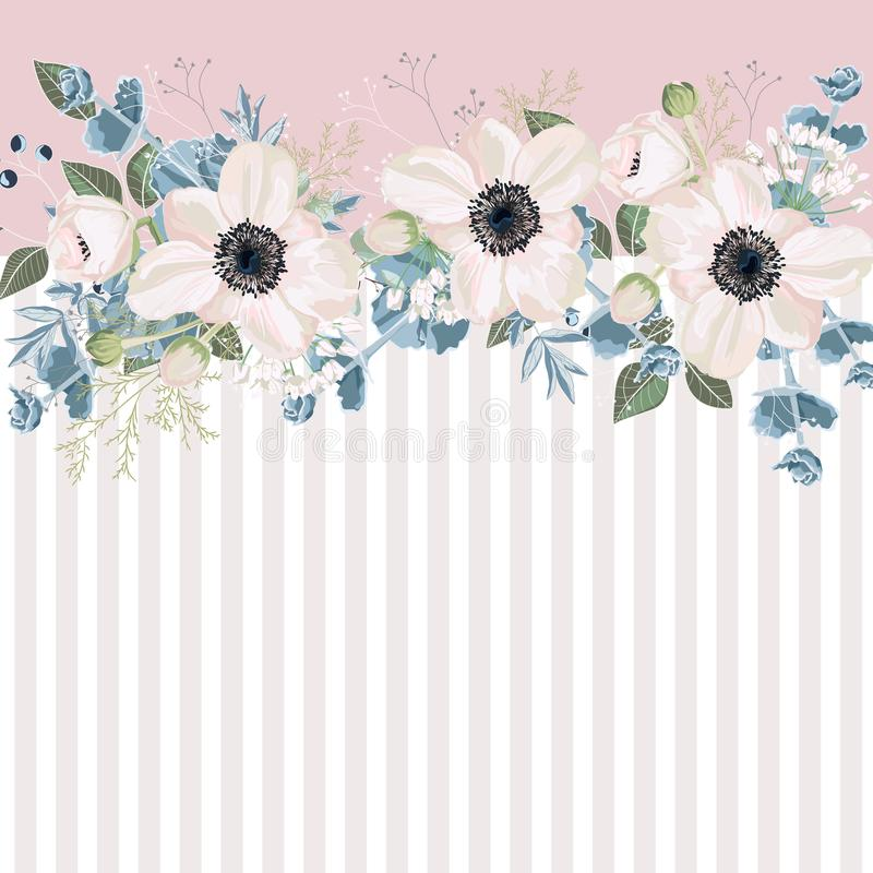 Horizontal striped pattern with white anemones, leaves, bud and herbs. vector illustration
