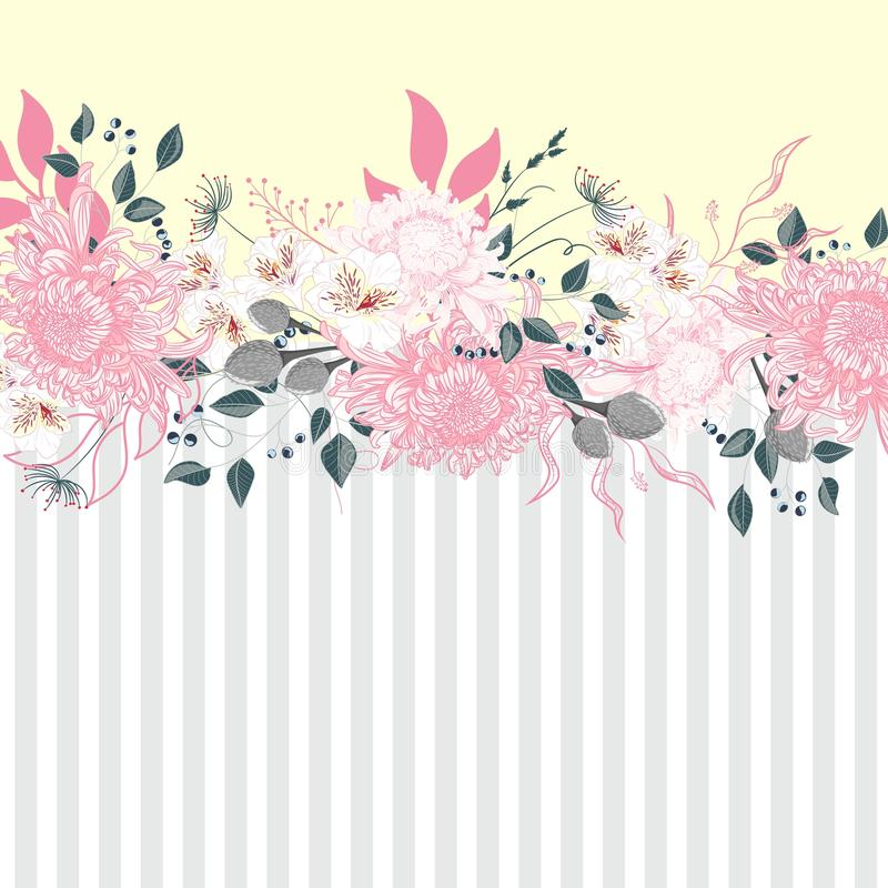 Free Horizontal Striped Pattern With Chrysanthemum, Leaves And Herbs. Cute Wedding Floral Design Frame. Royalty Free Stock Photos - 143928678