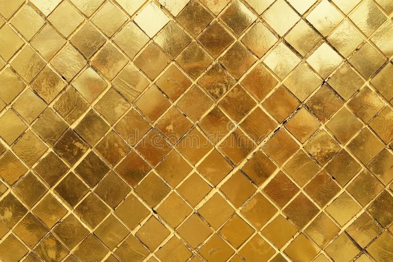 Horizontal Texture of Golden Mosaic Wall Background royalty free stock photos