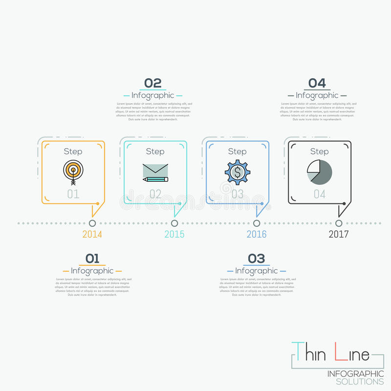 Horizontal timeline with 4 elements in shape of speech bubbles and text boxes stock illustration