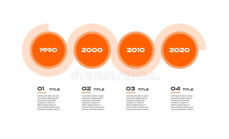 Horizontal timeline Steps infographics - can illustrate a strategy, workflow or team work, vector flat color, business stock illustration