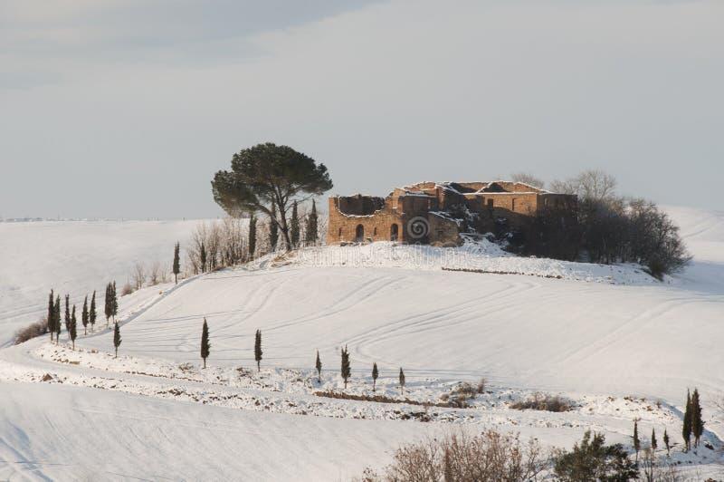 Horizontal toscan à l'hiver images libres de droits